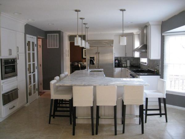 White Carrera Marble Countertops Transitional Kitchen