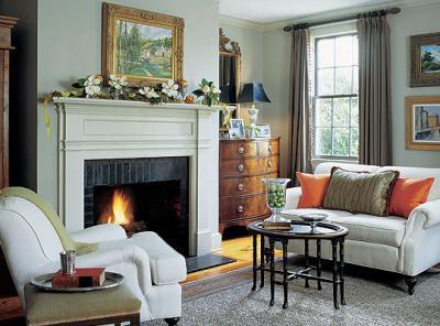 Transitional living room - White grey green living room ...