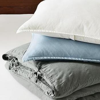 washed linen duvet cover + sham, west elm