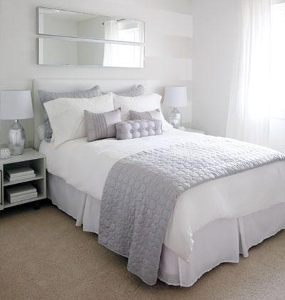 White and lavender bedding contemporary bedroom for Blue white and silver bedroom ideas