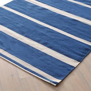 Kilim Blue White Striped Rug