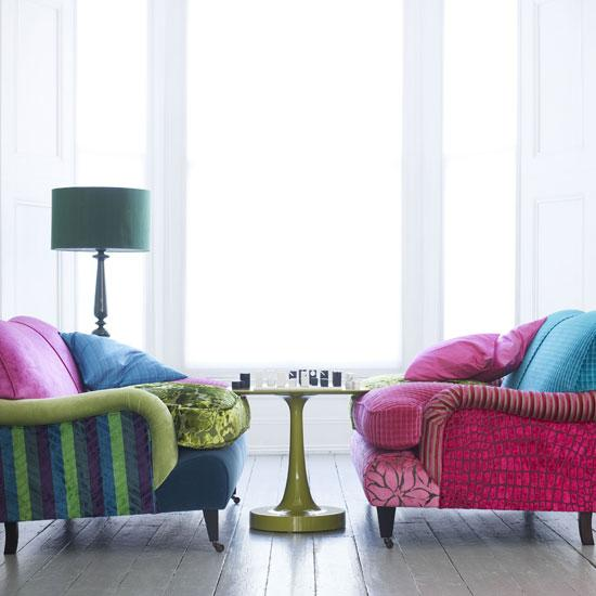 These Make Me Feel Happy And Joyful. Pink Sofa, Glossy Green Lacquer Table  And Striped Blue And Green Sofa.