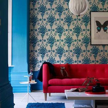 Red Tufted Sofa, Eclectic, living room, Living Etc