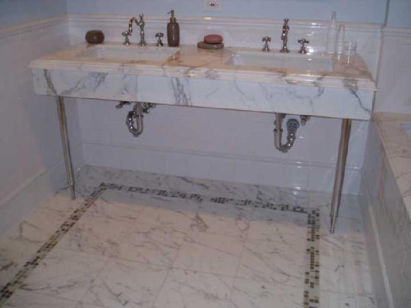Fab Calcutta Marble Console Sink White Marble Tiles Floors, White Marble  Double Sinks And Chair Rail.