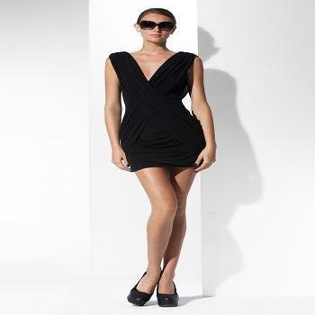 BCBGMAXAZRIA, NEW ARRIVALS: V-NECK GATHERED DRESS