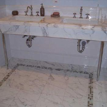 Calcutta Marble Washstand, Contemporary, bathroom
