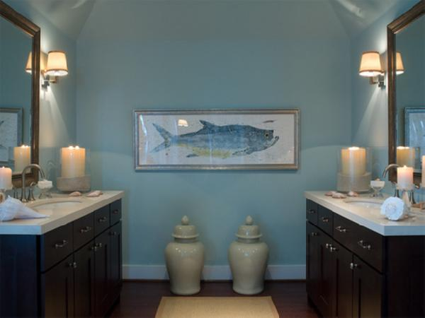 Blue and brown bathroom cottage bathroom hgtv for Espresso bathroom ideas