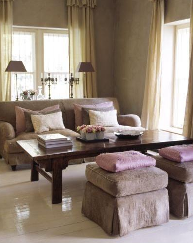 Pink and brown curtains design ideas for Brown taupe living room