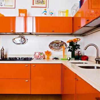 Orange Cabinets, Contemporary, kitchen