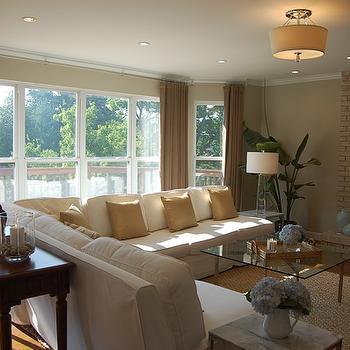 Slipcovered Sectional, Contemporary, living room, Benjamin Moore Grant Beige