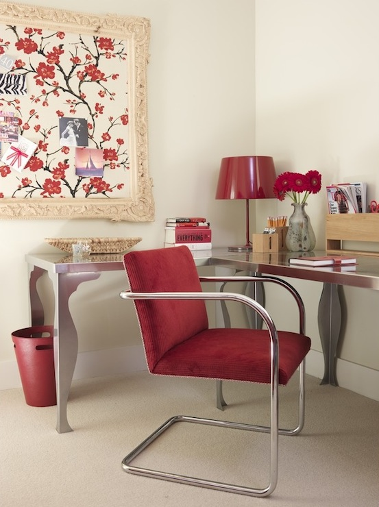 silver ikea desks tables red lamp modern upholstered red metal chair red wastebasket and sakura red cherry blossom fabric framed as art ivory off white