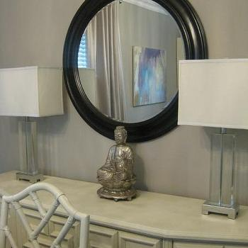 White Sideboard, Transitional, dining room, Benjamin Moore Stone Harbor, Wallpaper