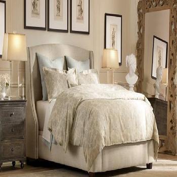 Restoration Hardware  restoration hardware fall 09 warner bedroom, warner upholstered bed, zinc ...