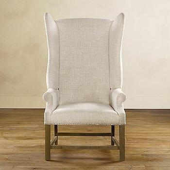French Upholstered Wing Chair-Furniture