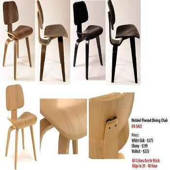 Molded Plywood Eames Like Dining Chairs, 3colors-New