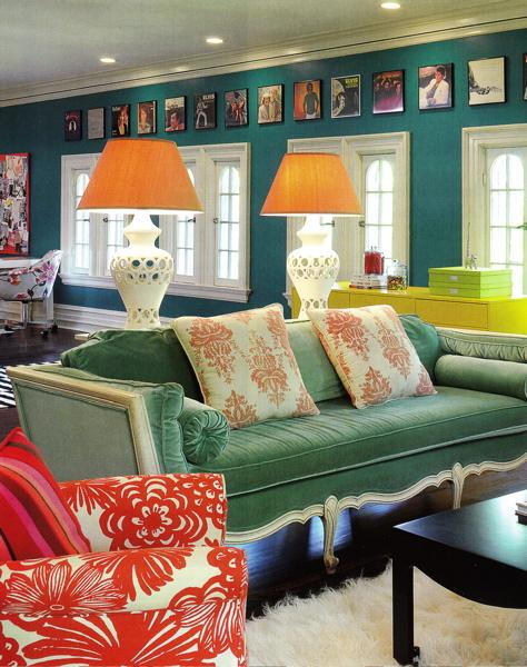 Teal Sofa Living Room Decor: Amie Corley Interiors