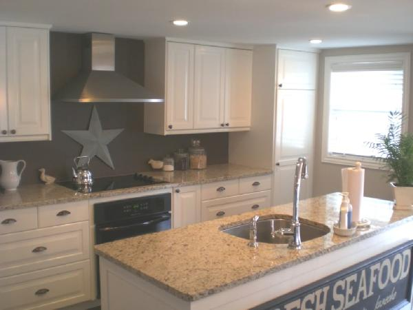 Giallo ornamental granite transitional kitchen cr for Grey and white kitchen cabinets