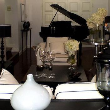 Black And White Living Room View Full Size Elegant Lacquer Baby Grand Piano In A Classic Monochromatic Setting Monochrome Inc Interior Design