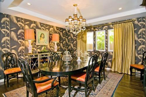 contemporary yellow and gray dining room - contemporary - dining room