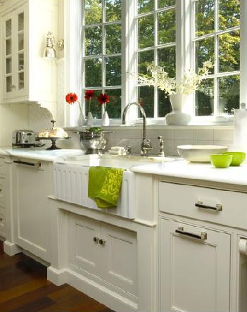 Connecticut Kitchen Porcelain Farmhouse Sink Ivory Glass Front Cabinets And Marble Countertops