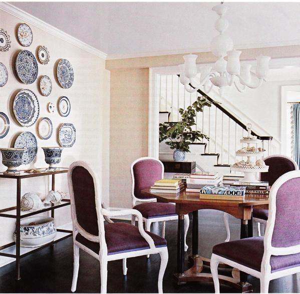 Purple dining chairs contemporary dining room for Dining room wall design