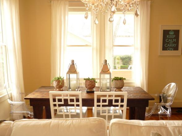 Farmhouse table contemporary dining room for Yellow farmhouse table