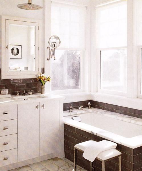 Brown And White Bathroom. Brown Subway Tiles  Contemporary bathroom S R Gambrel