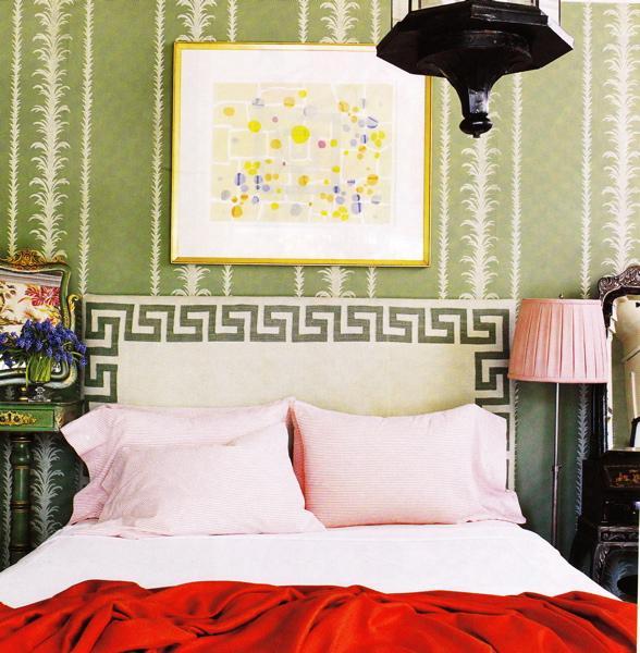 Greek key headboard eclectic bedroom for Greek bedroom decor