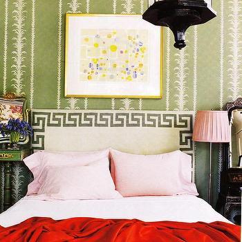 Greek Key Headboard, Eclectic, bedroom