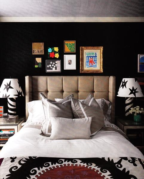 Zebra table lamps contemporary bedroom eric kohler - Black painted bedroom walls ...