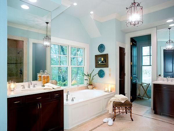 Captivating Blue Sea Blue Walls, Paint, Color, Espresso Vanity And Faux Bamboo Stool.