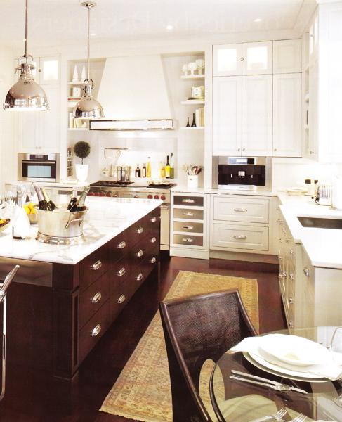 Brown kitchen island transitional kitchen for Dark kitchen cabinets light island