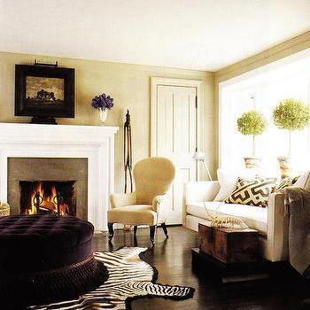 Purple Velvet Ottoman, Transitional, living room