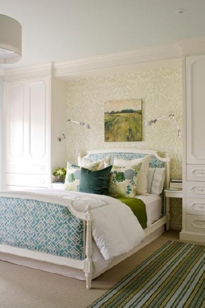 with white bed blue geometric upholstered bed striped green and blue