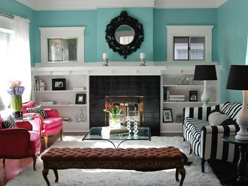Glam Turquoise Living Room   Turquoise Blue Walls, Ikea Ung Drill Mirror,  Fireplace, Built Ins, Tufted Bench, Craftman , Pink Chairs, White U0026 Black  Striped ...