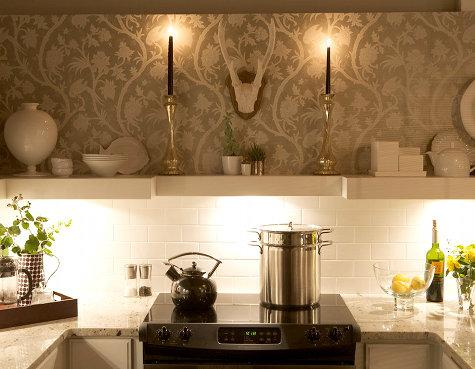 My Inspiration For My Kitchen I Have One Annoying Kitchen Cabinet In Between Two Windows That Blocks A Bit Of Light Quatrefoil Wallpaper