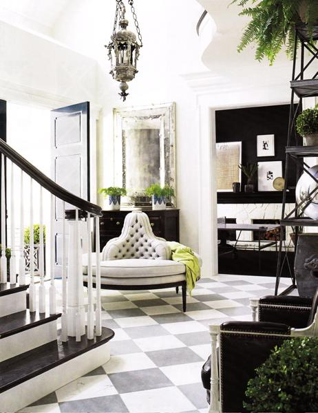 Round Settee Eclectic Entrance Foyer