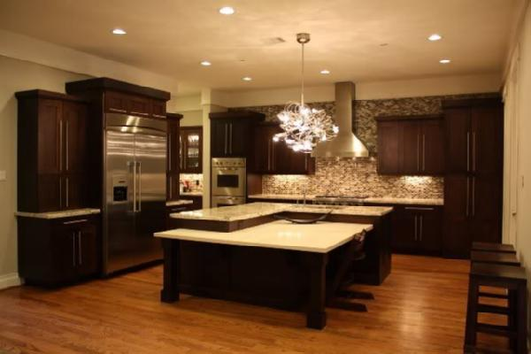 Chocolate brown cabinets transitional kitchen for Brown kitchen designs