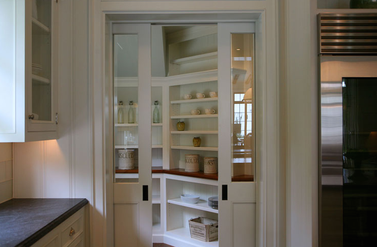 Pantry With Pocket Doors Transitional Kitchen