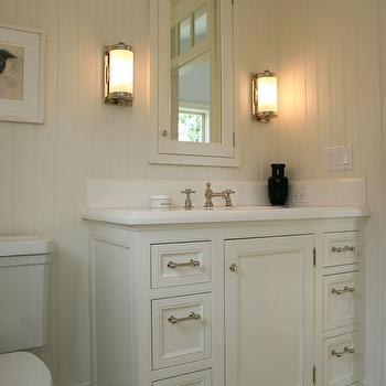 Off White Bathroom Cabinets, Cottage, bathroom, Giannetti Home