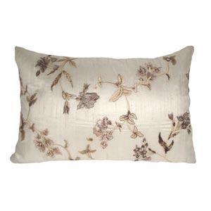 Natural Floral Embroidered Silk Pillow In Decorative Pillows From Bellacor