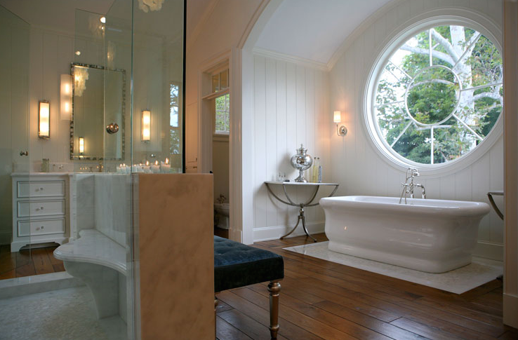Arched bathtub alcove transitional bathroom for Bathroom alcove ideas
