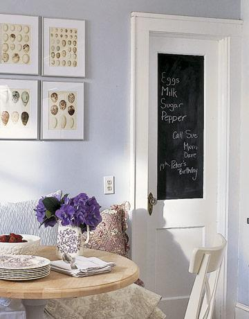 Blue Grey Casual Dining   Chalkboard Door, Lilac Walls Paint Color,  Breakfast Nook And Art.