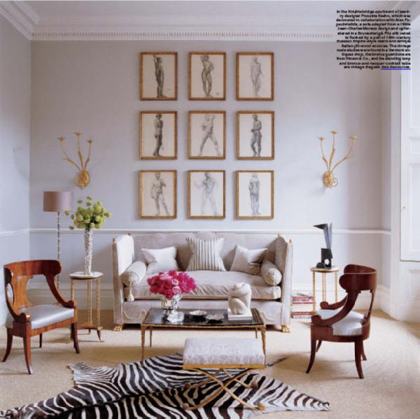 Zebra Rug Interior Design: Living Room