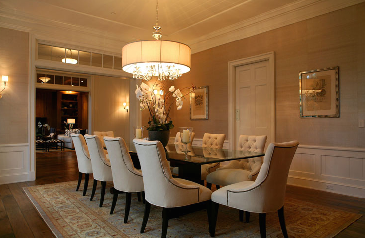 tufted dining room chairs - eclectic - dining room - burnham design