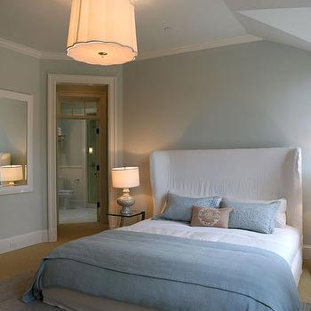 White Wingback Headboard Transitional Bedroom Elle Decor
