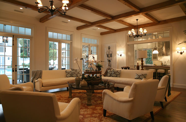 Wood Beams In Living Room Transitional Living Room