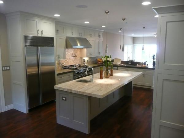 Dream kitchen inspiration white kitchen cabinets, stone countertops,  stainless steel appliances and kitchen island. All White Kitchen with Dark  Wood Floors - White Kitchen Cabinets Dark Wood Floors Design Ideas