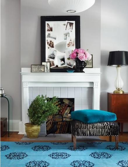Barb Purdy U0026 Gordon Runge   Madeline Weinrib Atelier Turquoise Mandala Rug,  Fireplace, Bench, Pendant And Gray Walls Paint Color.