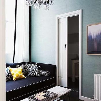Navy Blue Sofa, Contemporary, living room, Diane Bergeron Interiors